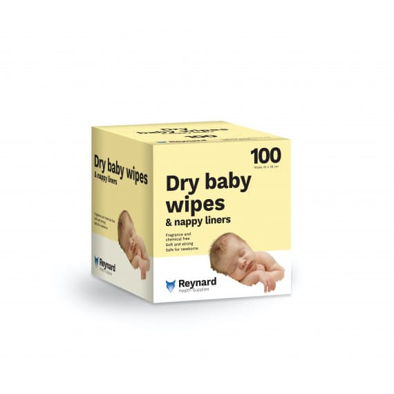 Reynard Dry Baby Wipes & Nappy Liners 100 Wipes