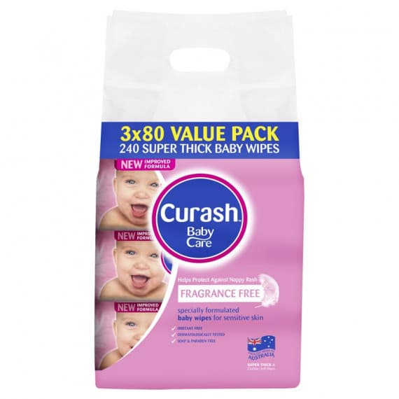 Curash Fragrance Free Baby Wipes 3 x 80 Pack