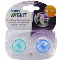 Avent Classic Translucent Soother 6-18m+ 2 Pack (Colour May Vary)