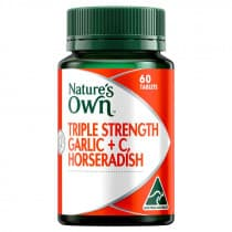 Natures Own Triple Strength Garlic Plus C Horseradish 60 Tablets