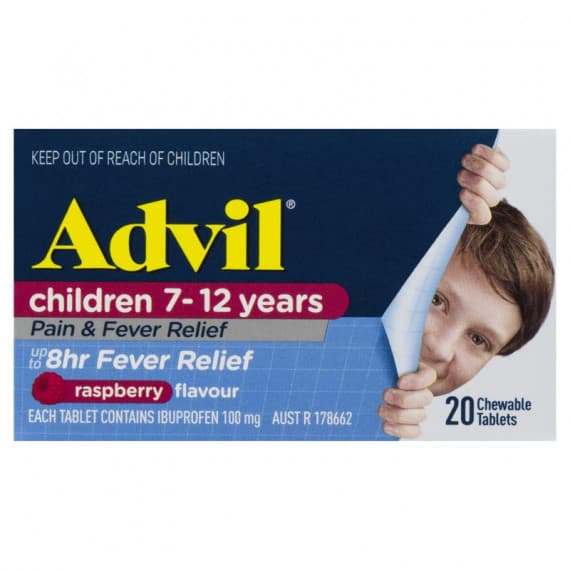 Advil Childrens Chewable 7-12 Years Raspberry 20 Tablets
