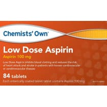 Chemists Own Low Dose Aspirin 84 Tablets