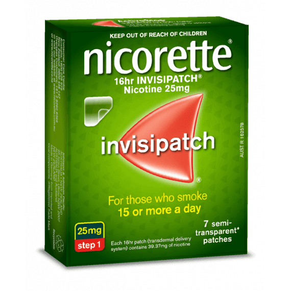 Nicorette Nicotine Patch 16hr Invisipatch Step 1 25mg 7 Patches