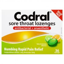 Codral Sore Throat Lozenges Lime & Lemon 36 Lozenges
