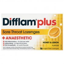 Difflam Plus Sore Throat Lozenges + Anaesthetic Honey & Lemon 16 Lozenges