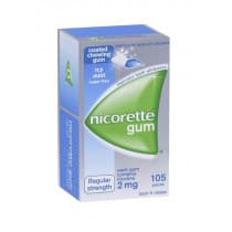 Nicorette Nicotine Gum Icy Mint 2mg 105 Pieces