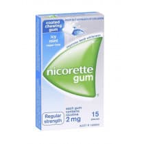 Nicorette Nicotine Gum Icy Mint 2mg 15 Pieces